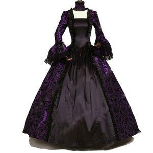 Plus Size Renaissance Dress Costume Purple Brocade Boutique